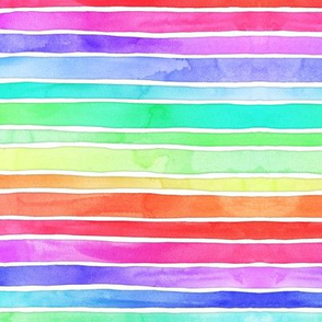 Ever So Bright Rainbow Stripes in watercolor on white