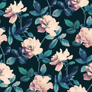 Retro Kitsch Vintage Roses in Mauve Pink on Dark Teal - large