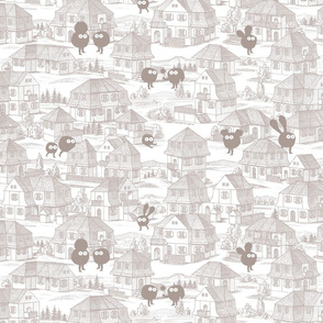Toy Town Wallpaper (grey)