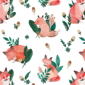 Woodland Foxes White Ground (Larger Scale)