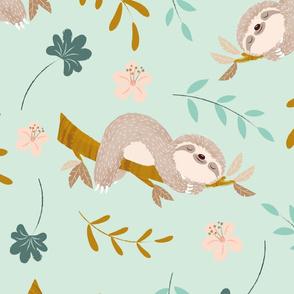 Cute Sloth Animals Children's Babies Wallpaper or Cloths Gender Neutral