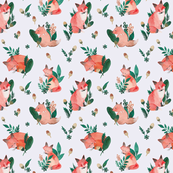Woodland Foxes Light Grey Ground (Medium Scale)