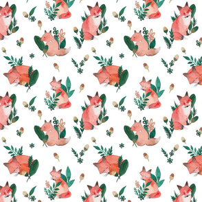 Woodland Foxes White Ground (Medium Scale)