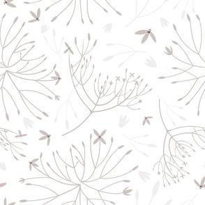 Light brown Ixora flower pattern on white