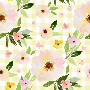"""18"""" Pink Pastel Watercolor Florals in Light Yellow Gingham"""