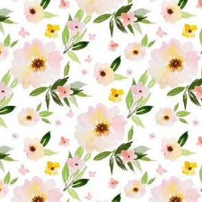 "4"" Pink Pastel Watercolor Florals"