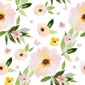 "8"" Pink Pastel Watercolor Florals"