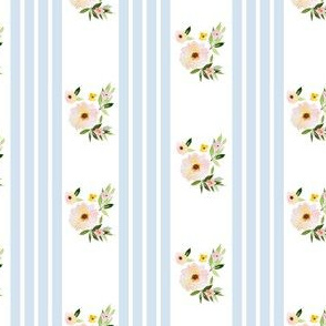 """4"""" Spring Florals with Blue Ticking"""