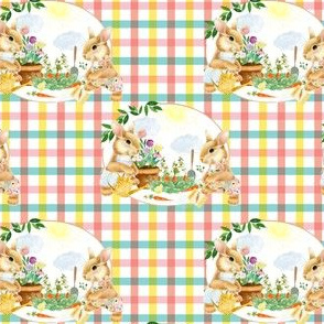 "4"" Spring Garden Bunnies Peach and Teal Gingham"