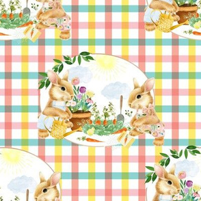 "8"" Spring Garden Bunnies Peach and Teal Gingham"