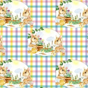"4"" Spring Garden Bunnies Pink and Lilac Gingham"