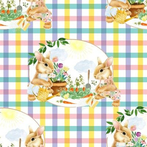 "8"" Spring Garden Bunnies Pink and Lilac Gingham"