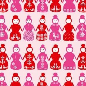 Cross Stitch Dolls (red)