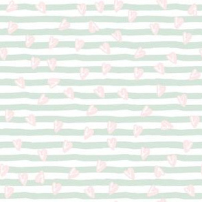 "6"" Minty Green Stripes and Pink Hearts"