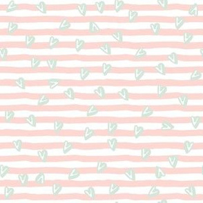"6"" Pink Stripes with Minty Green Hearts"
