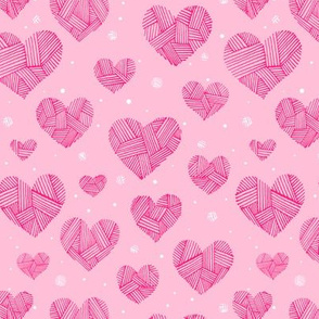 Crosshatch Hearts on Pink