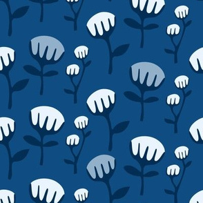 Classic Blue background - flowers with navy stems