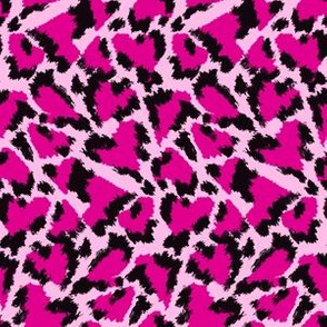 Leopard hearts pink