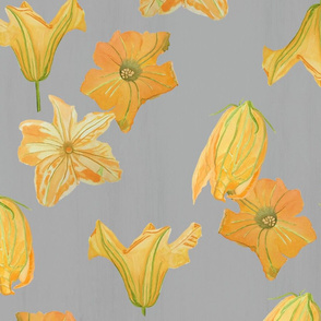 Pumpkin Flowers on Grey Repeat