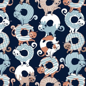 Small scale // Cats Donut Care // navy blue background pastel blue and brown sweet kitties
