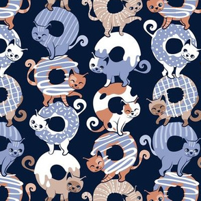 Small scale // Cats Donut Care // navy blue background indigo blue and brown sweet kitties