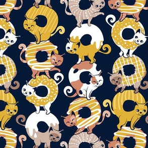 Small scale // Cats Donut Care // navy blue background goldenrod yellow mustard and brown sweet kitties
