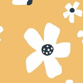 Jumbo // Daisy garden golden yellow and blue daisy flower wallpaper