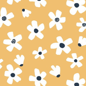 Medium // Daisy garden Golden yellow and navy blue floral girls Pantone