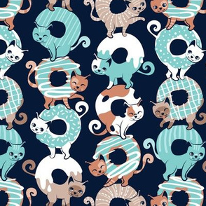 Small scale // Cats Donut Care // navy blue background mint and brown sweet kitties