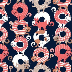 Small scale // Cats Donut Care // navy blue background coral and brown sweet kitties