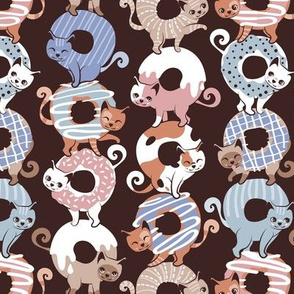 Small scale // Cats Donut Care // brown background blush pink, blue and brown sweet kitties