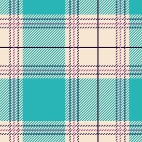 Cyan Beige Plaid V01