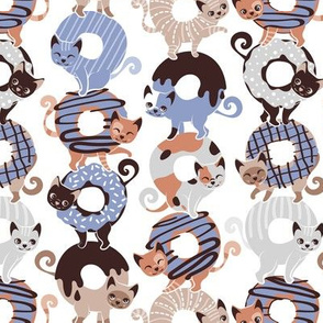Small scale // Cats Donut Care // white background indigo blue and brown sweet kitties