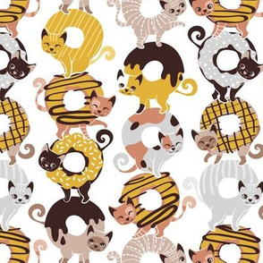 Small scale // Cats Donut Care // white background goldenrod yellow mustard and brown sweet kitties