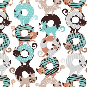 Small scale // Cats Donut Care // white background mint and brown sweet kitties