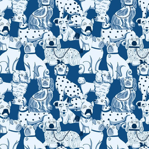 Porcelain Dogs in Blue