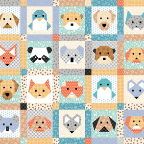 1-yard Origami Animals Cheater Quilt