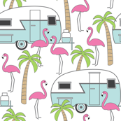 trailers flamingos and palm trees