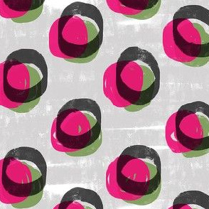 Bold rounds--hot pink green