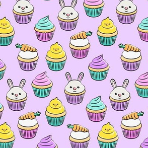 "(1 3/4"" scale) Easter cupcakes - bunny chicks carrots spring sweets - purple LAD20BS"