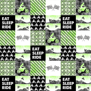 """(3"""" small scale) Motocross Patchwork - EAT SLEEP RIDE - bright green C20BS"""