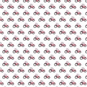 (micro scale) pink tractor on white - farm fabric C20BS