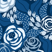 Classic blue papercut roses/jumbo scale