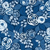 Classic blue papercut roses/large scale