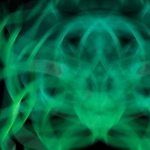 Green abstract patterns on a black background.