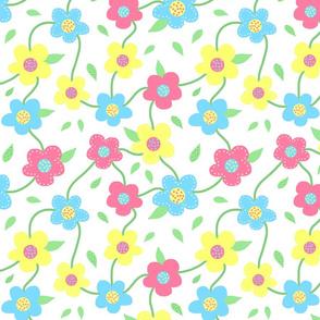 Floral Spring Delight! Pastels on white, large