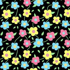 Floral Spring Delight! Pastels on black, large