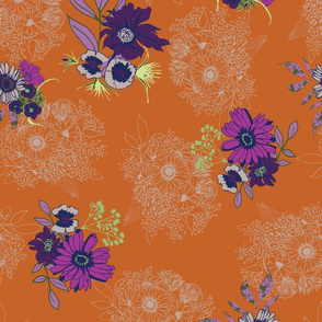 floral with linear bouquets on orange-01