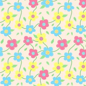 Floral Spring Delight! Pastels on creamy beige, large