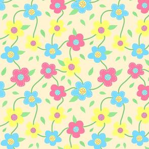 Floral Spring Delight! Pastels on sandy beige, large